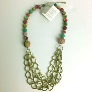Fair Trade Handmade Brass Chains & Kantha Necklace